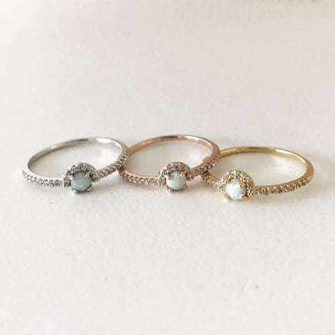 PAVE OPAL RING -Ring