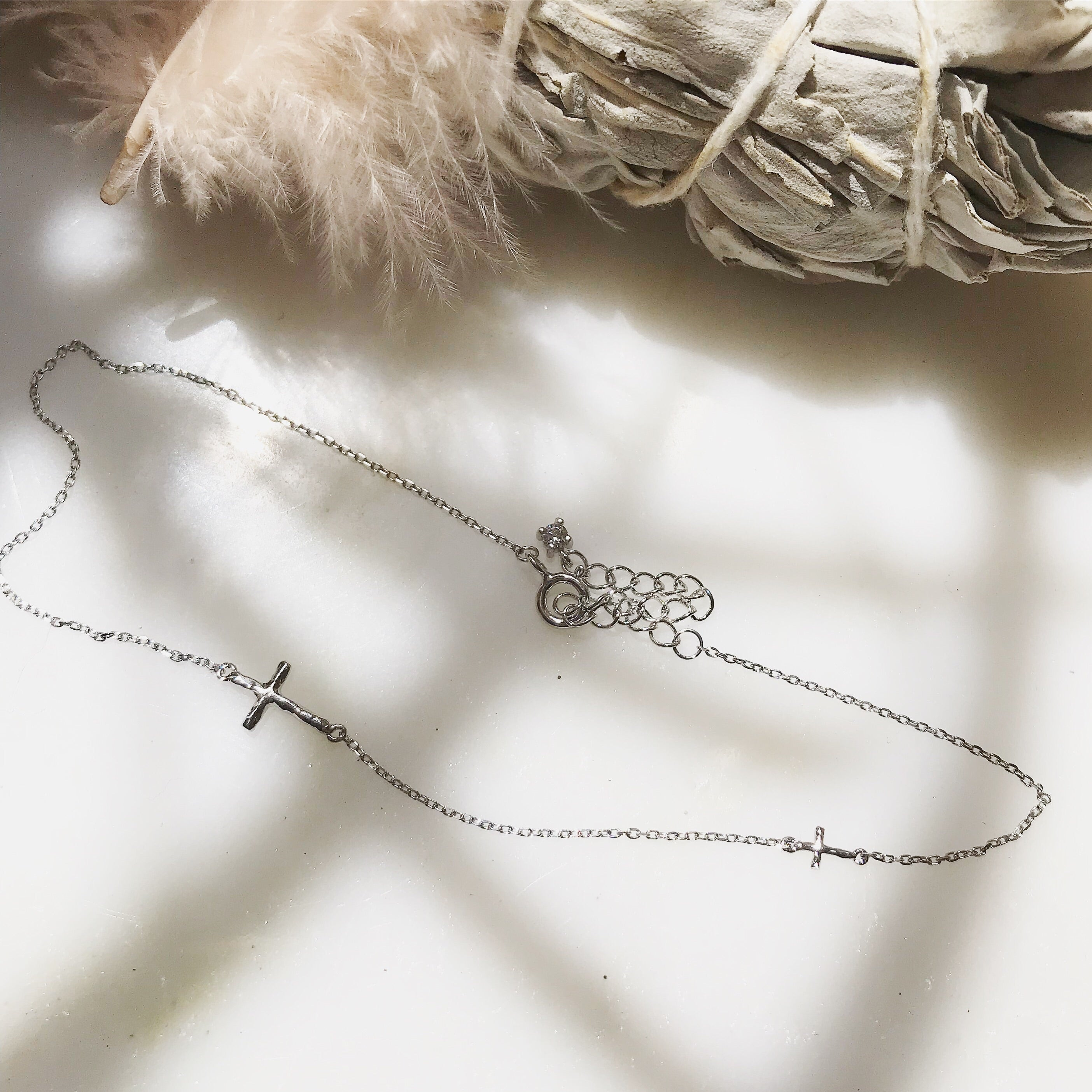 SILVER CROSS - Anklet