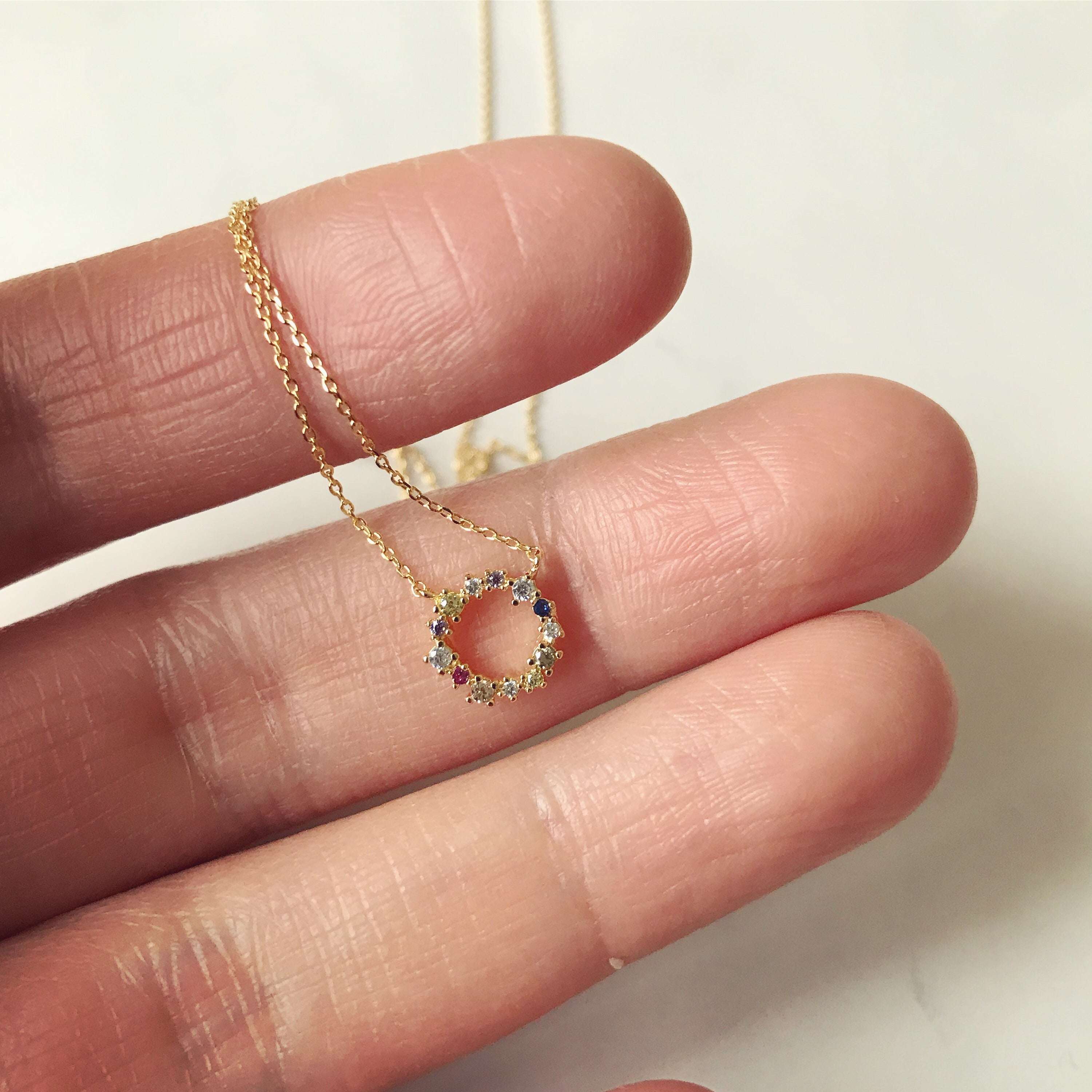 MULTI COLOR PAVE CIRCLE