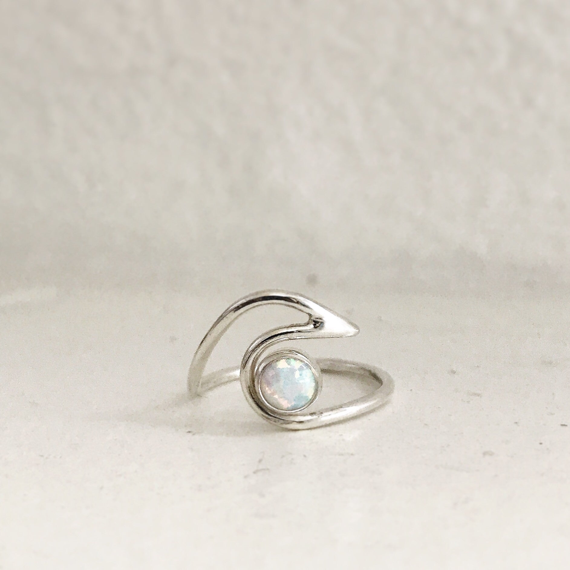 WAVE WITH OPAL - Rings