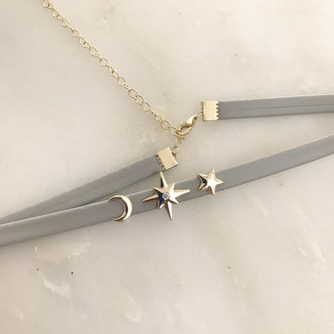 STAR & MOON GREY CHOKER - Necklace