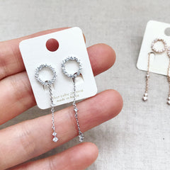 PAVE CIRCLE CHAIN DROP - Earrings