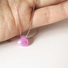 3D PINK HEART ROSE GOLD -Necklace