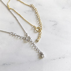 TINY PAVE BUTTON -Necklace