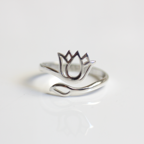 STERLING SILVER LOTUS ADJUSTABLE - RING