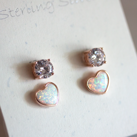 OPAL HEART & CRYSTAL SET -Earrings