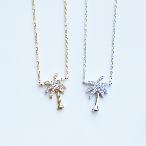 Pave palm tree -Necklace