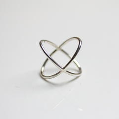 STERLING SILVER X BAND - RING