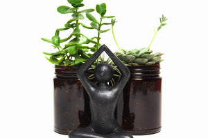 Yoga Statue with Plants Reuse Candle Jar