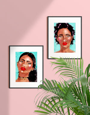 Woman wearing  a BLM choker art print illustration in a frame by Tatiana Poblah