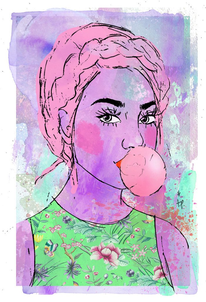 Mixed media illustration of a young woman blowing bubble gum by Tatiana Poblah