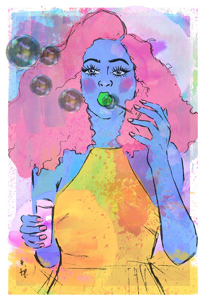 Mixed media illustration of a  woman blowing bubbles by Tatiana Poblah