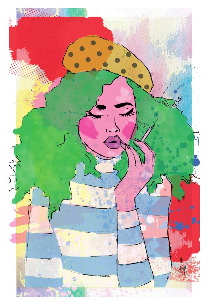 Mixed media illustration of a  woman wearing a striped sweater, beret, and smoking a cigarette by Tatiana Poblah
