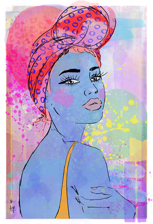 Mixed media illustration of a  woman in a patterned headwrap Tatiana Poblah
