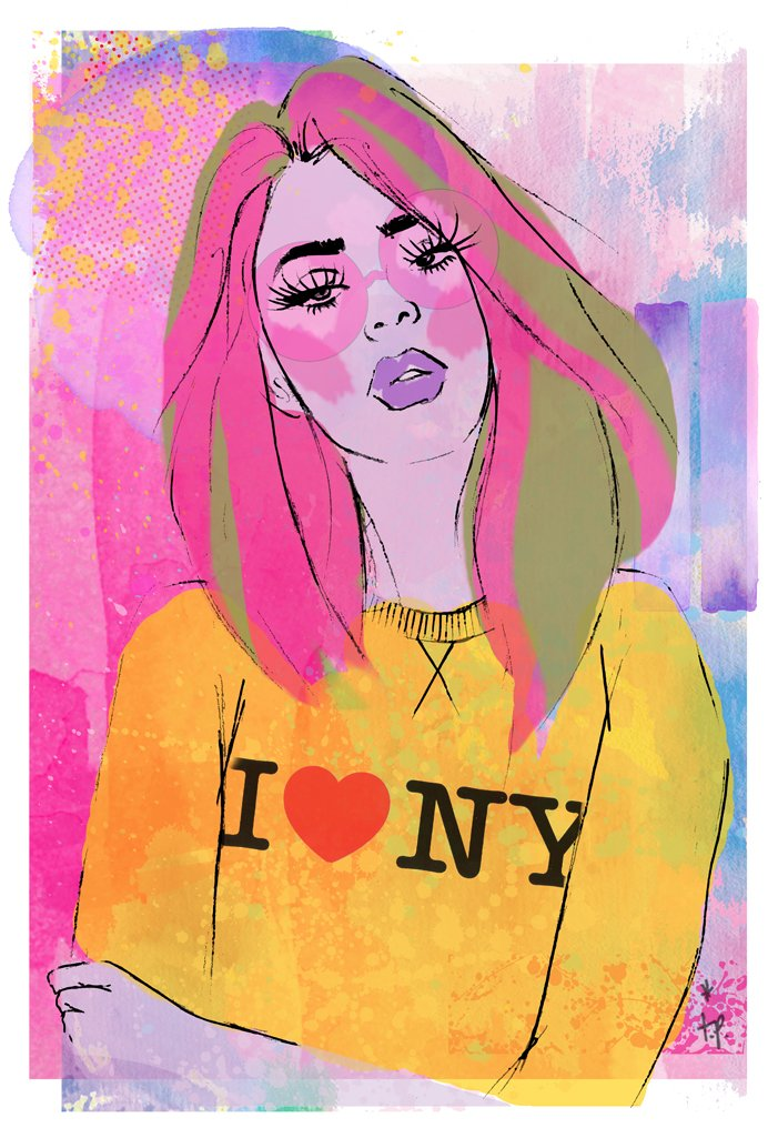 Mixed media illustration of a  woman in a yellow I love NY sweater Tatiana Poblah