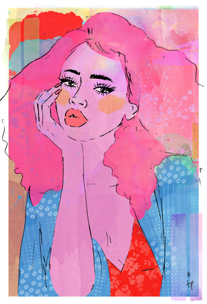 Mixed media illustration of a woman daydreaming by Tatiana Poblah