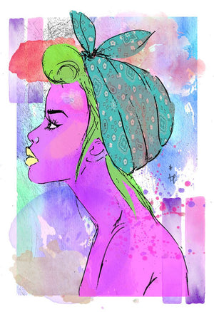 Mixed media illustration of a woman with green hair and a turquoise bandana by Tatiana Poblah