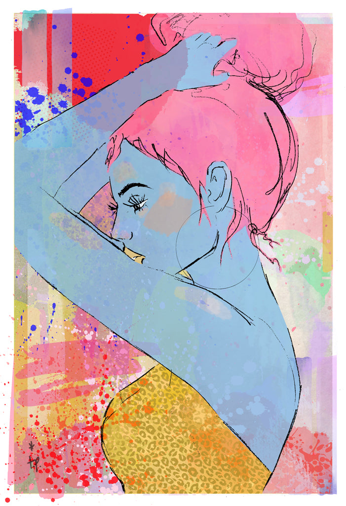 Mixed media illustration of a profile view of a woman by Tatiana Poblah