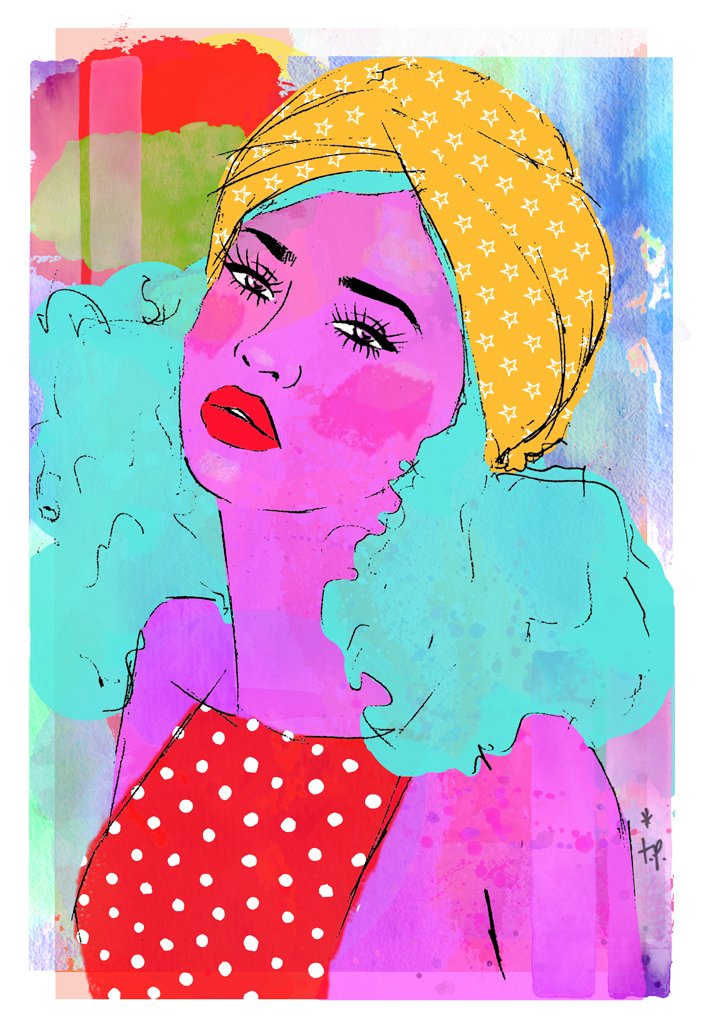 Mixed media illustration of a woman wearing a polka dot top and a head scarf with stars by Tatiana Poblah