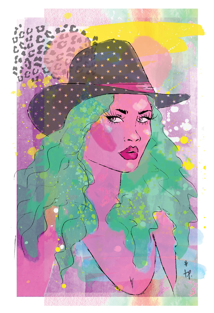 Mixed media illustration of a  woman with green hair and a star patterned cowboy hat Tatiana Poblah