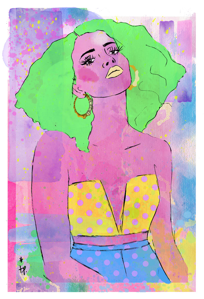 Mixed media illustration of a woman with green hair inspired by Jem and the Holograms by Tatiana Poblah