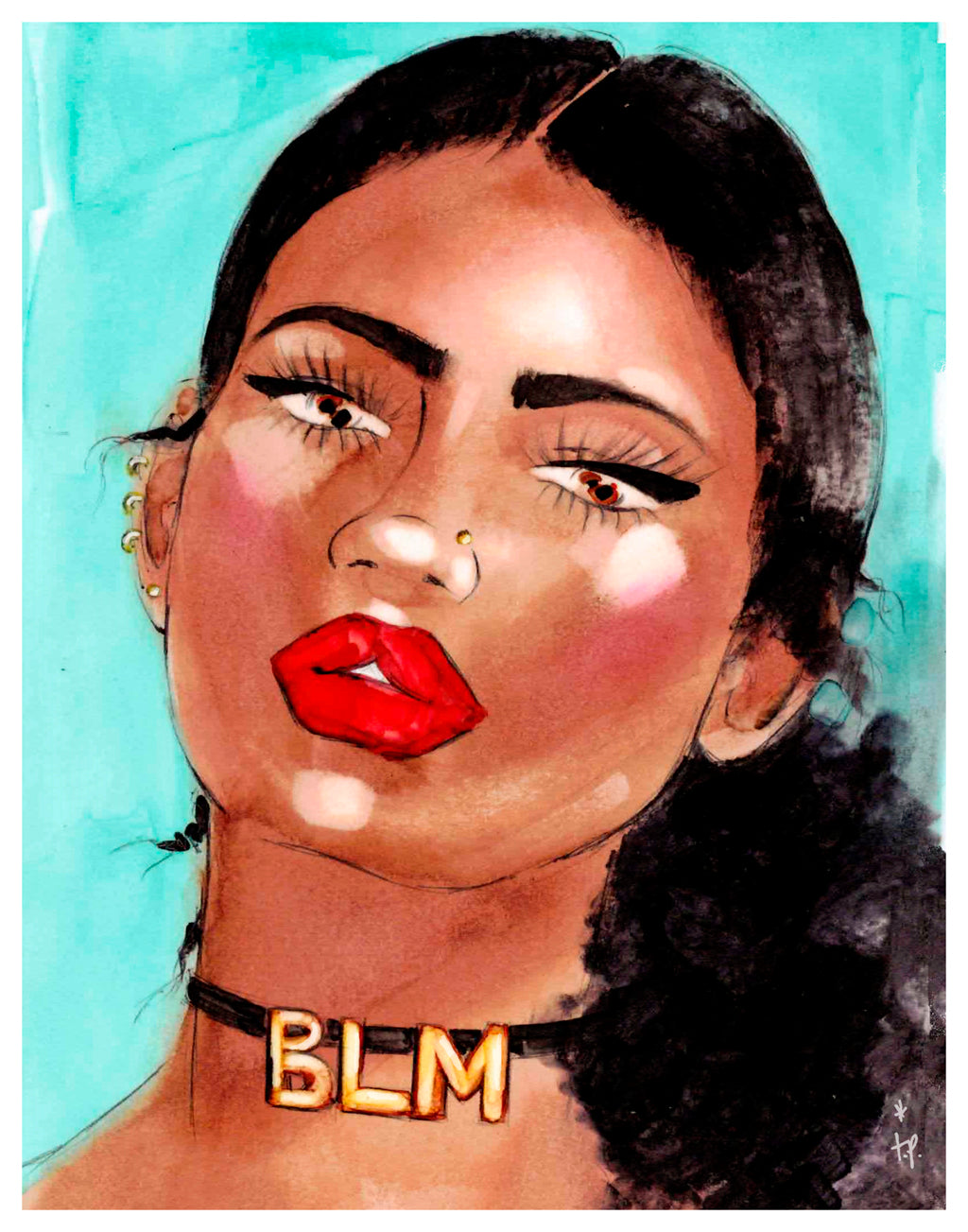 Woman wearing  a BLM choker art print illustration by Tatiana Poblah