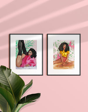 Woman Wearing a Pink Fur and High Boots Art Print Illustration in a Frame By Tatiana Poblah