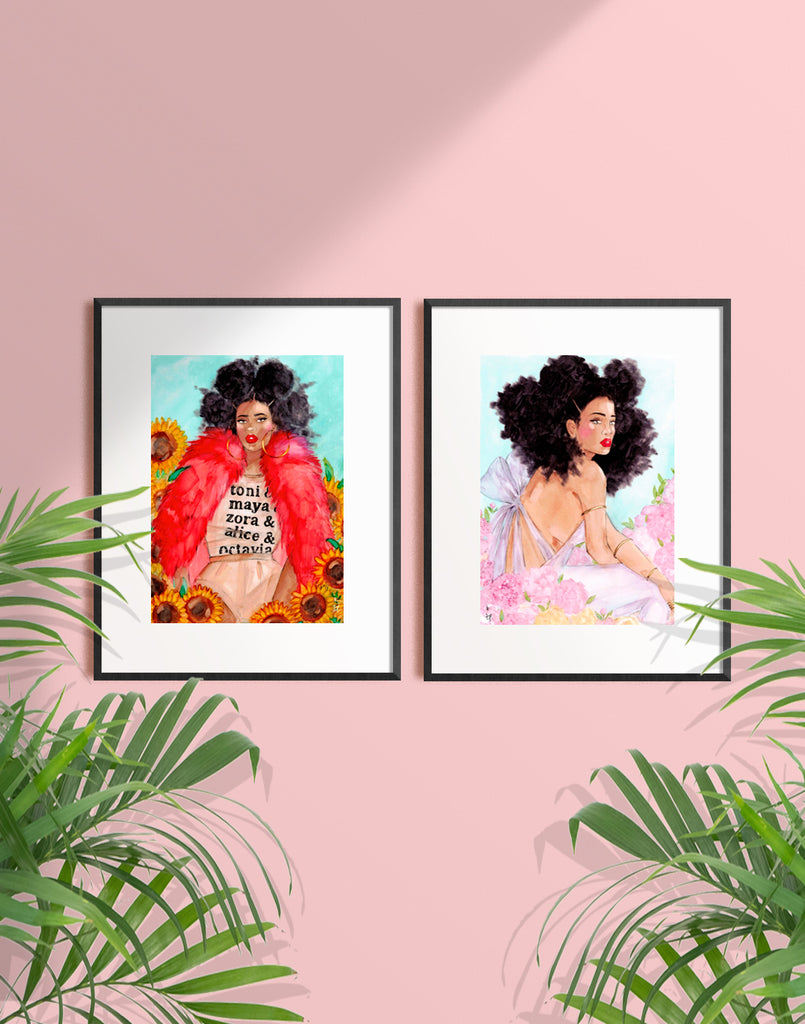 Framed illustration of a woman wearing a red fur sitting amongst  sunflowers by Tatiana Poblah