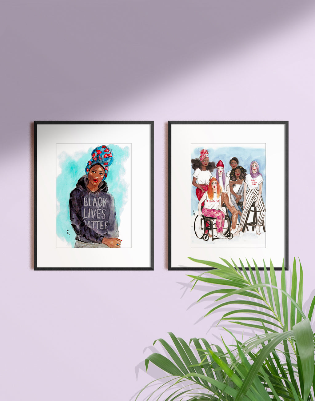 Woman wearing a colorful headwrap and Black Lives Matter hoodie art print illustration in a frame by Tatiana Poblah