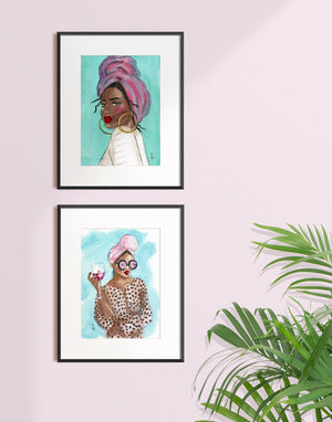 Framed print of a woman holding a glass of wine and wearing a headscarf by Tatiana Poblah