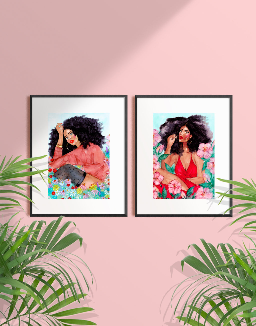 Framed illustration of a beautiful woman among hibiscus flowers by Tatiana Poblah