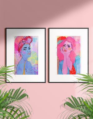 Framed mixed media illustration of a woman daydreaming by Tatiana Poblah