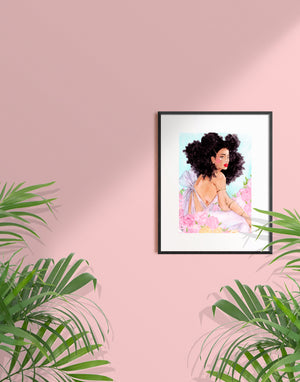 Woman with big curly hair sitting in a field of peonies in a black frame with a white mat by Tatiana Poblah