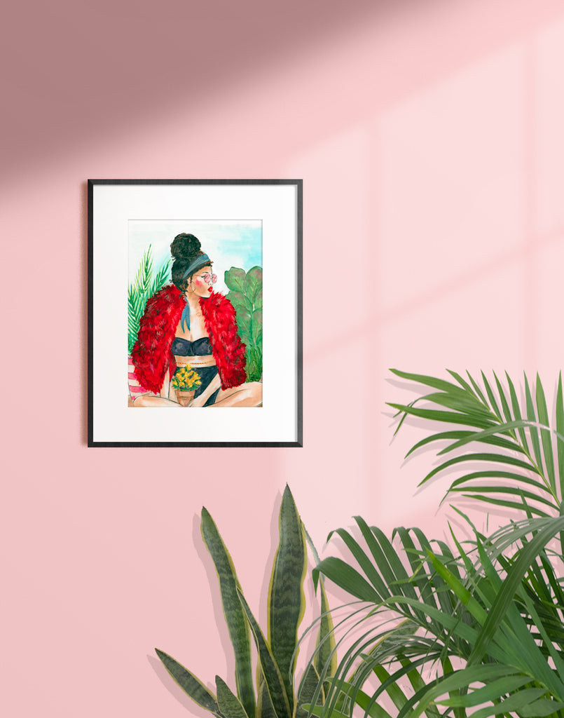 Framed illustration of a woman with her curly hair in a bun surrounded by plants and wearing a red fur jacket, black bra and panties by Tatiana Poblah
