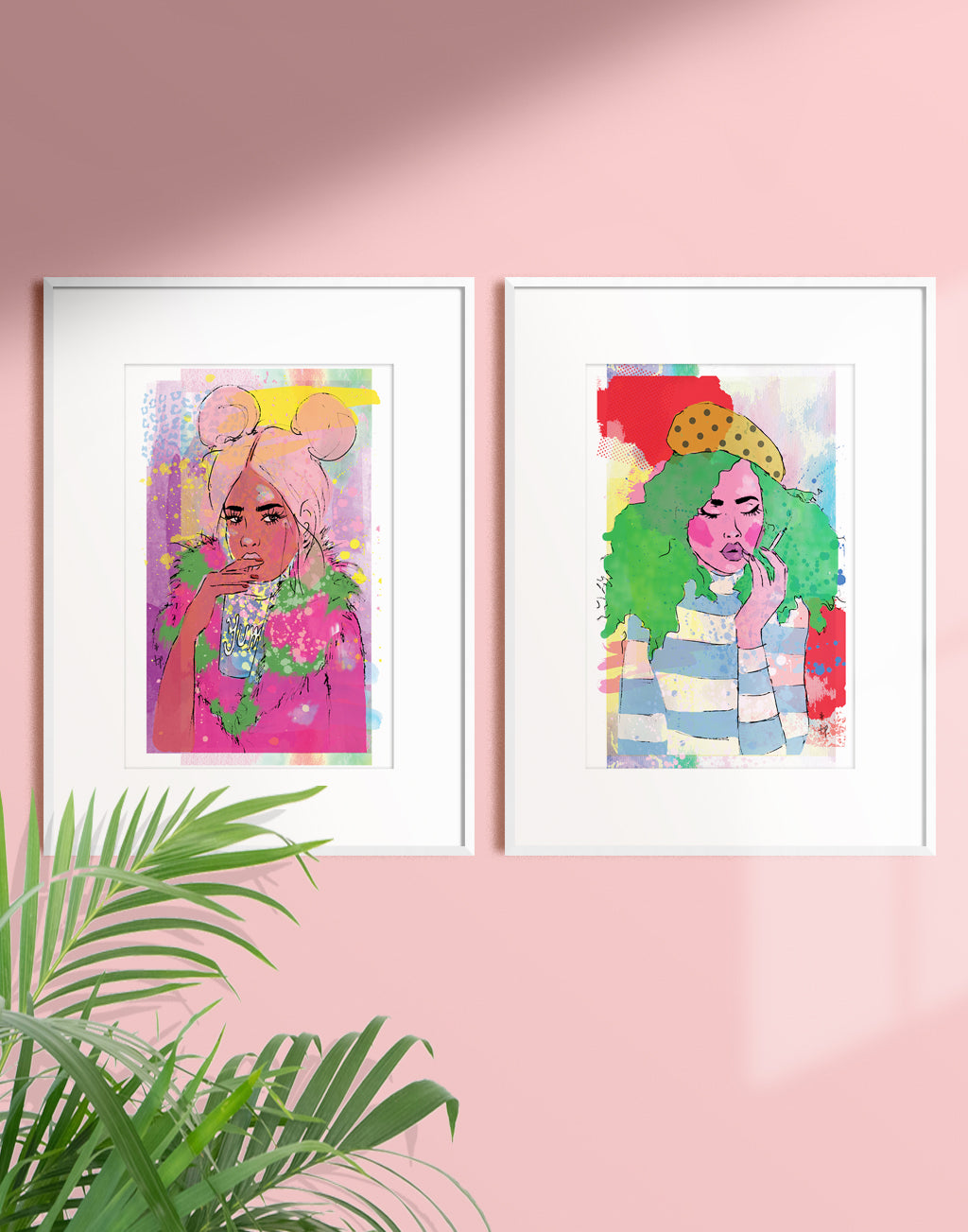 Framed mixed media illustration of a young woman with two pink puffs drinking a cold drink by Tatiana Poblah