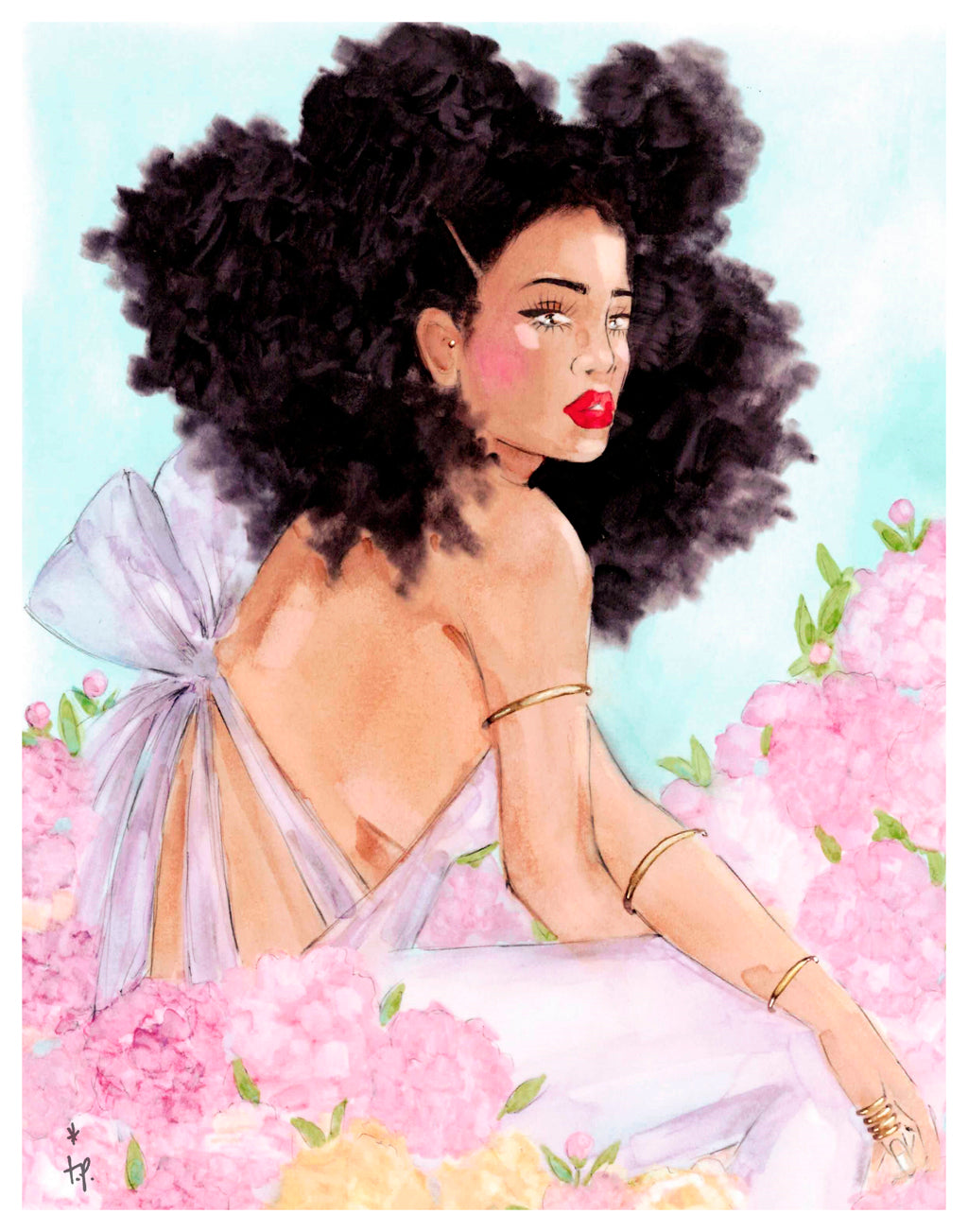 Illustration of a woman with big curly hair sitting in a field of peonies by Tatiana Poblah