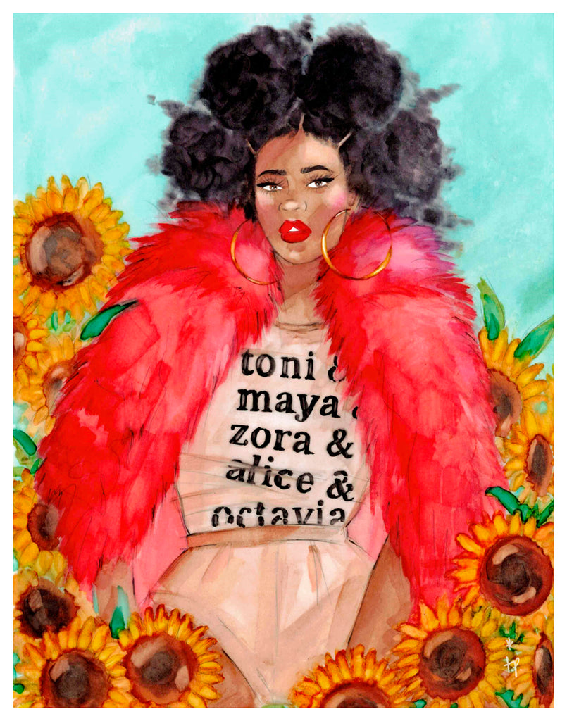 Illustration of a woman wearing a red fur sitting amongst  sunflowers by Tatiana Poblah