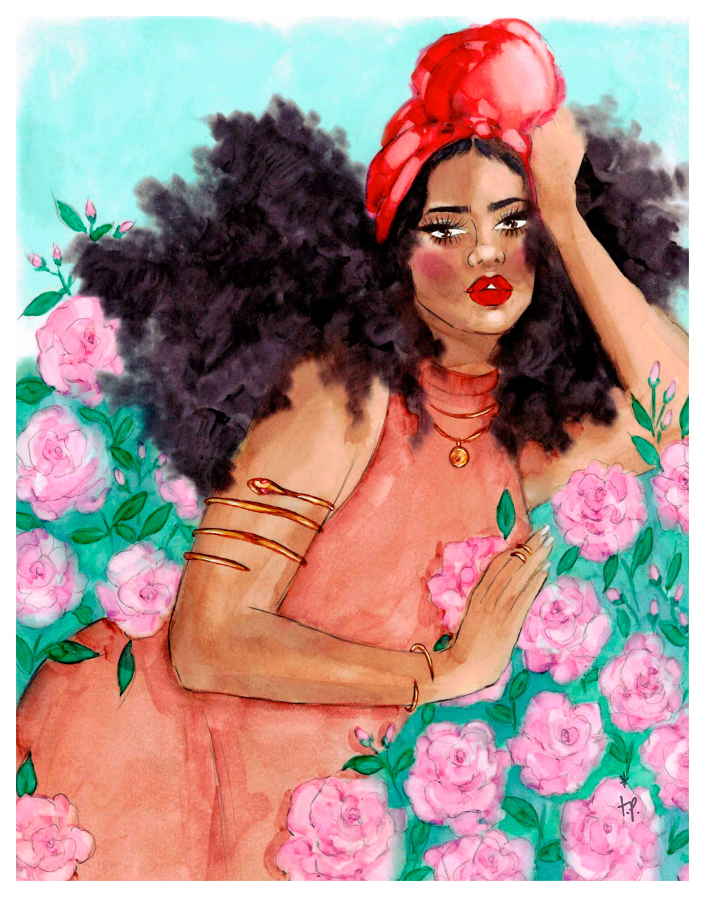 Illustration of a beautiful woman laying in a rose bush by Tatiana Poblah