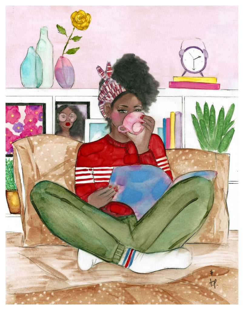 Illustration of a beautiful black woman in sweat pants and sweater with her hair up drinking tea and reading a magazine while sitting cross legged on her bed by Tatiana Poblah