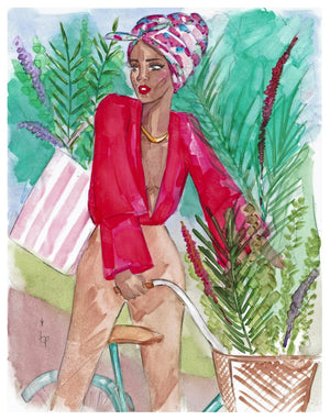 Woman Wearing a Headscarf and Red Shirt Biking and Surrounded by Leaves Art Print Illustration By Tatiana Poblah