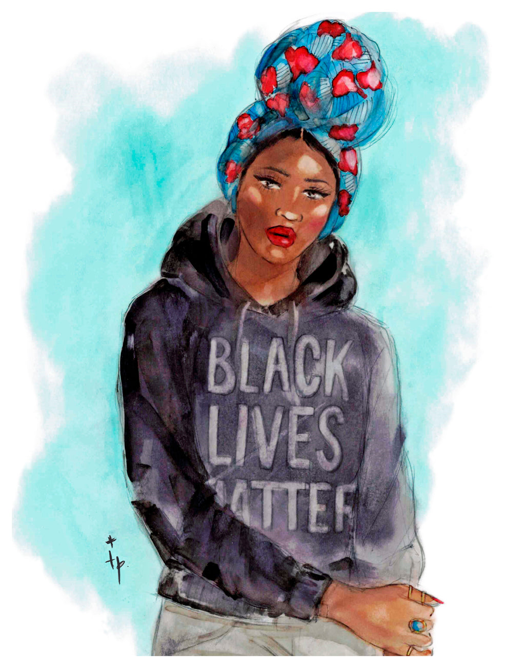 Woman wearing a colorful headwrap and Black Lives Matter hoodie art print illustration By Tatiana Poblah