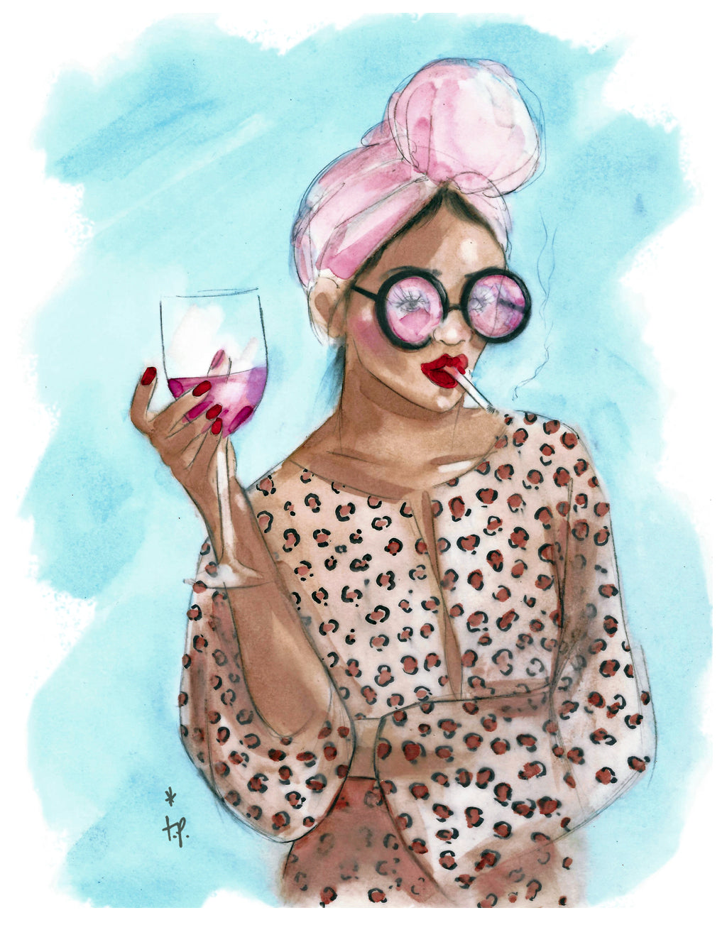 Print of a woman holding a glass of wine and wearing a headscarf by Tatiana Poblah