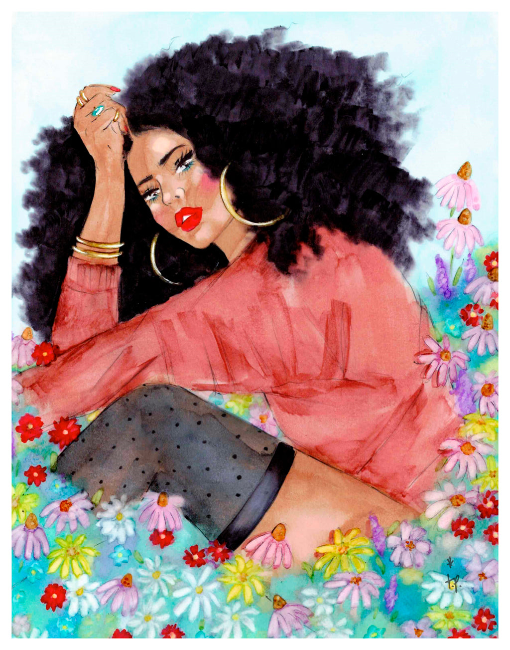 Illustration of a beautiful woman sitting in field of wildflowers by Tatiana Poblah