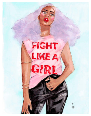 Illustration of a woman with lilac hair wearing a fight like a girl tee shirt by Tatiana Poblah