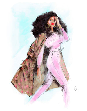 Illustration of a woman wearing a coat walking determinedly towards her future by Tatiana Poblah