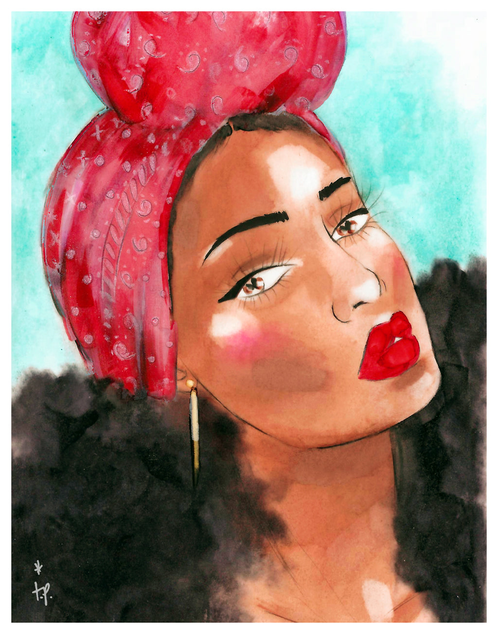 Illustration of a beautiful woman with big curly hair wearing a red printed headwrap by Tatiana Poblah
