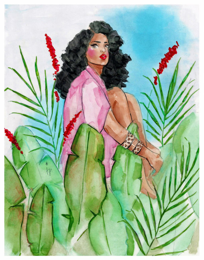Illustration of a woman with curly hair wearing a pink shirt and sitting with her knees to her chest amongst tropical flowers and plants by Tatiana Poblah