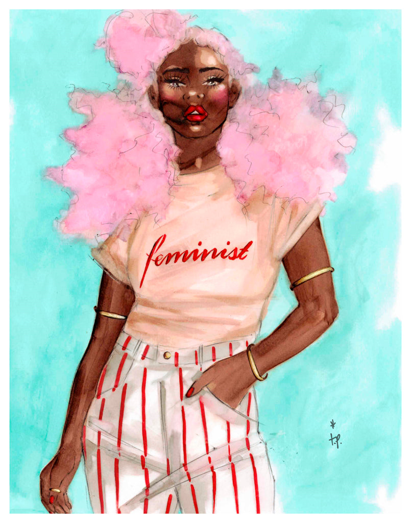 Illustration of a woman with big curly pink hair wearing a feminism tee-shirt by Tatiana Poblah
