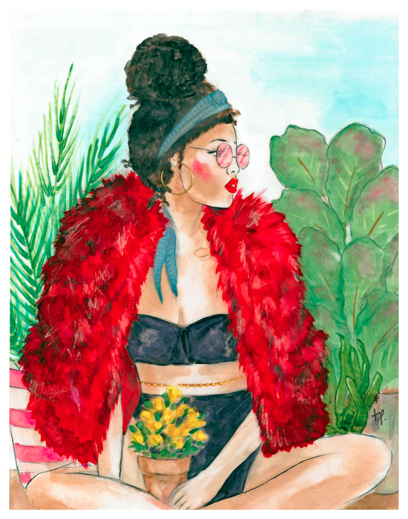Illustration of a woman with her curly hair in a bun surrounded by plants and wearing a red fur jacket, black bra and panties by Tatiana Poblah