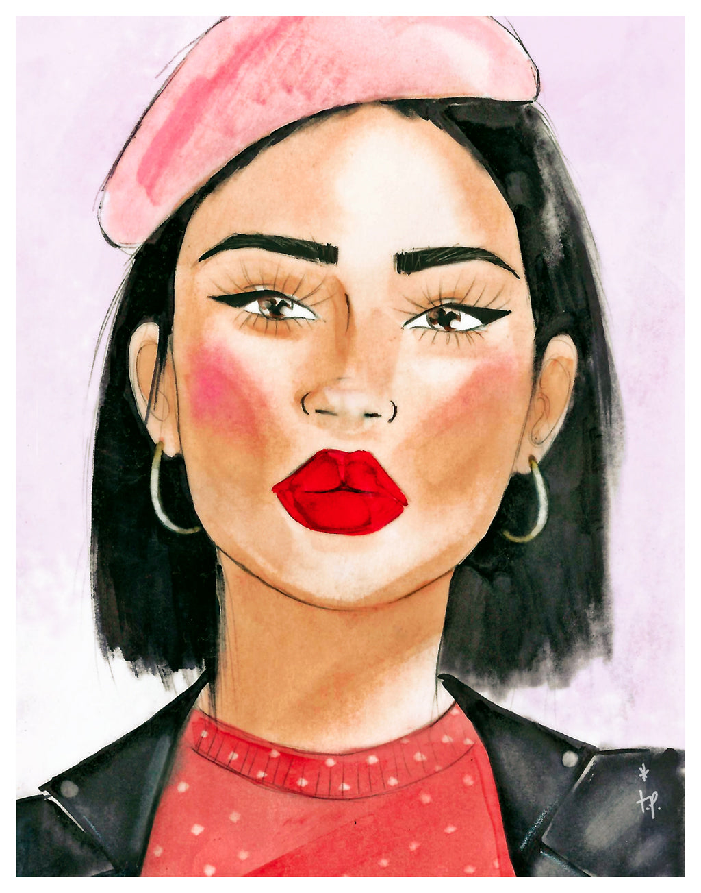 Illustration of girl wearing a pink beret and leather jacket by Tatiana Poblah